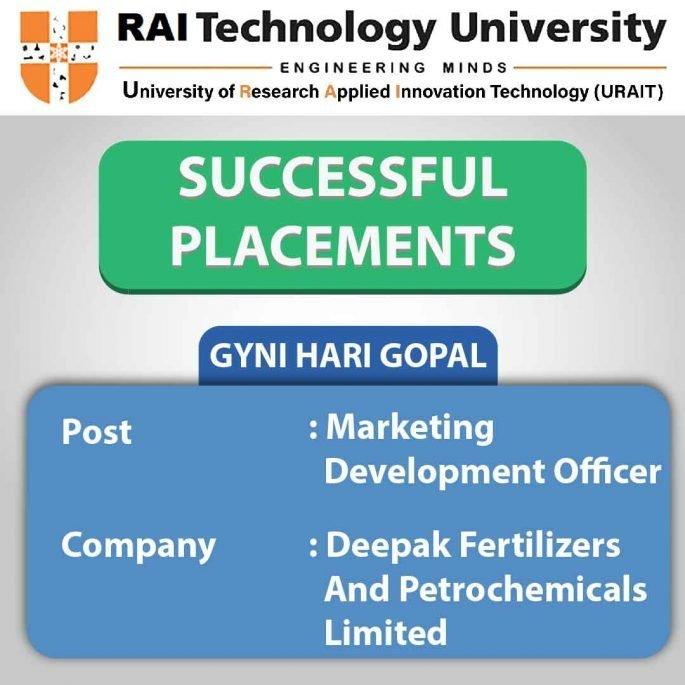 PLACEMENT AT RAI TECHNOLOGY UNIVERSITY BANGALORE